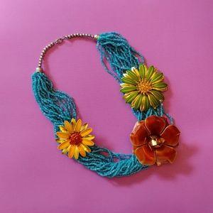 Vintage brown flower brooch & necklace